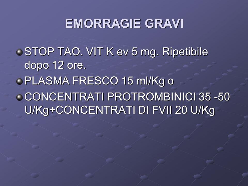 EMORRAGIE GRAVI STOP TAO. VIT K ev 5 mg. Ripetibile dopo 12 ore. PLASMA FRESCO 15 ml/Kg o CONCENTRATI PROTROMBINICI 35 -50 U/Kg+CONCENTRATI DI FVII 20