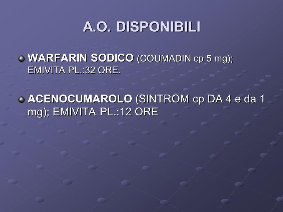 A.O. DISPONIBILI WARFARIN SODICO (COUMADIN cp 5 mg); EMIVITA PL.:32 ORE. ACENOCUMAROLO (SINTROM cp DA 4 e da 1 mg); EMIVITA PL.:12 ORE