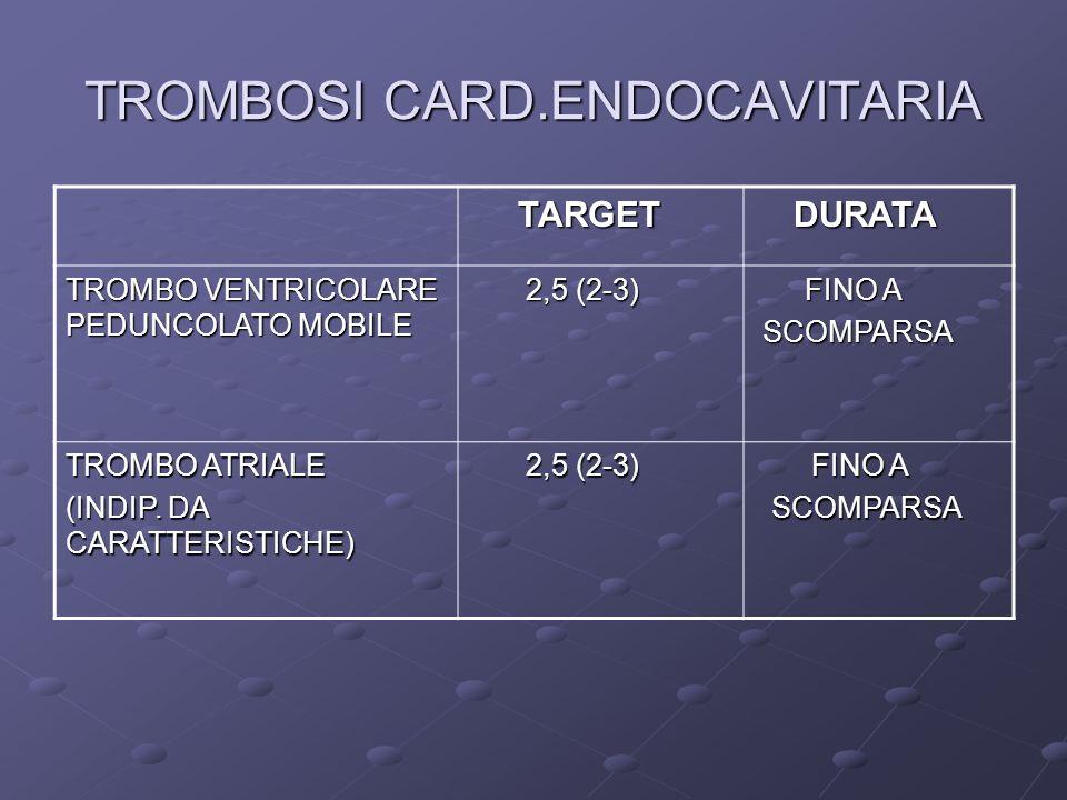 TROMBOSI CARD.ENDOCAVITARIA TARGET TARGET DURATA DURATA TROMBO VENTRICOLARE PEDUNCOLATO MOBILE 2,5 (2-3) 2,5 (2-3) FINO A FINO A SCOMPARSA SCOMPARSA TROMBO ATRIALE (INDIP.