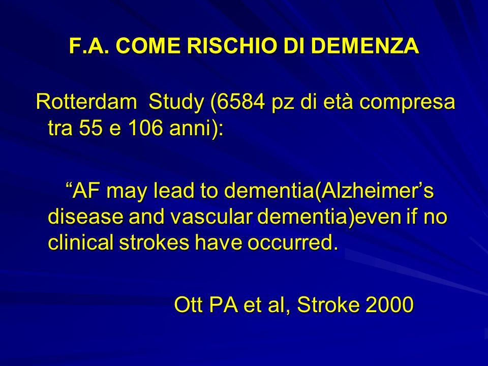 F.A. COME RISCHIO DI DEMENZA Rotterdam Study (6584 pz di età compresa tra 55 e 106 anni): Rotterdam Study (6584 pz di età compresa tra 55 e 106 anni):