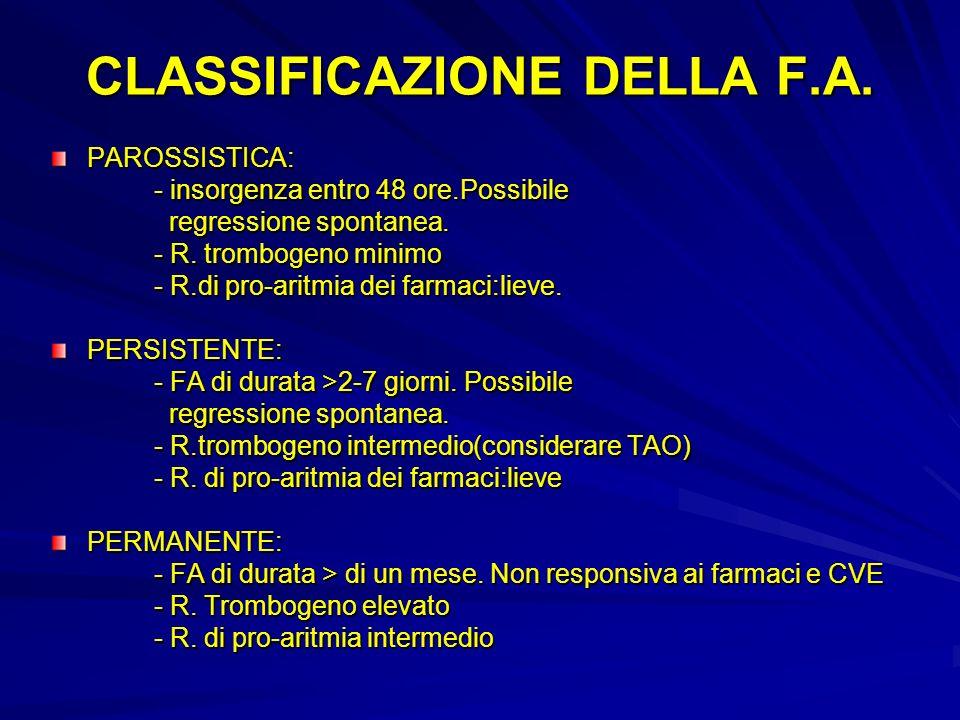 CLASSIFICAZIONE DELLA F.A. PAROSSISTICA: - insorgenza entro 48 ore.Possibile - insorgenza entro 48 ore.Possibile regressione spontanea. regressione sp