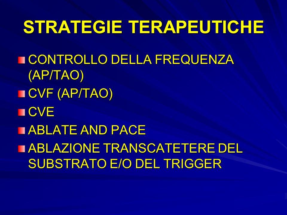 STRATEGIE TERAPEUTICHE CONTROLLO DELLA FREQUENZA (AP/TAO) CVF (AP/TAO) CVE ABLATE AND PACE ABLAZIONE TRANSCATETERE DEL SUBSTRATO E/O DEL TRIGGER