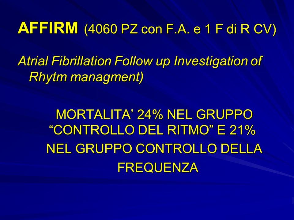 AFFIRM (4060 PZ con F.A. e 1 F di R CV) Atrial Fibrillation Follow up Investigation of Rhytm managment) MORTALITA 24% NEL GRUPPO CONTROLLO DEL RITMO E
