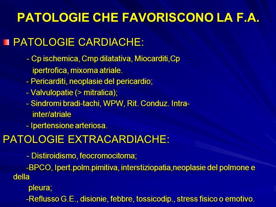 PATOLOGIE CHE FAVORISCONO LA F.A. PATOLOGIE CARDIACHE: - Cp ischemica, Cmp dilatativa, Miocarditi,Cp - Cp ischemica, Cmp dilatativa, Miocarditi,Cp ipe