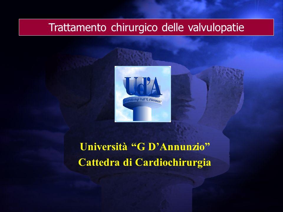 Trattamento chirurgico delle valvulopatie Università G DAnnunzio Cattedra di Cardiochirurgia