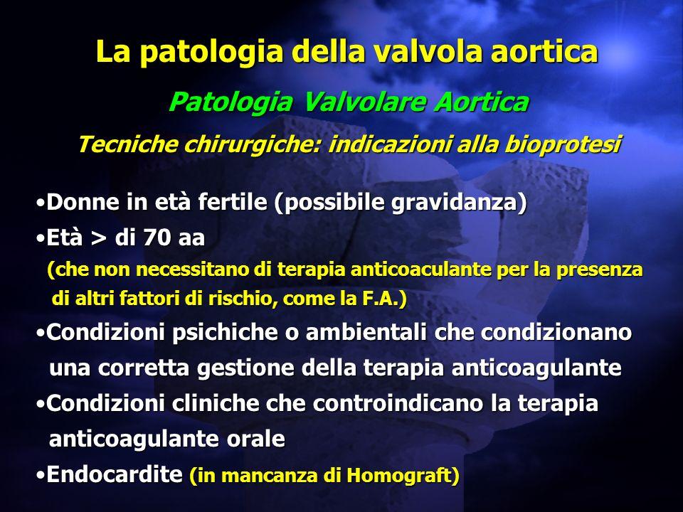 La patologia della valvola aortica Patologia Valvolare Aortica Tecniche chirurgiche: indicazioni alla bioprotesi Donne in età fertile (possibile gravi