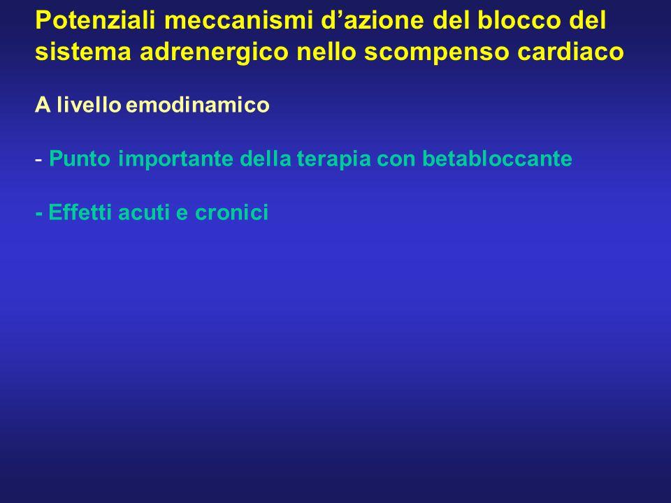 Potenziali meccanismi dazione del blocco del sistema adrenergico nello scompenso cardiaco A livello emodinamico - Punto importante della terapia con b