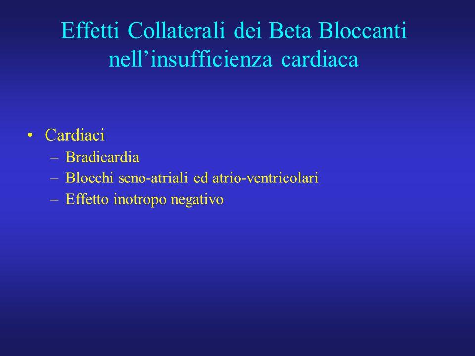 Effetti Collaterali dei Beta Bloccanti nellinsufficienza cardiaca Cardiaci –Bradicardia –Blocchi seno-atriali ed atrio-ventricolari –Effetto inotropo