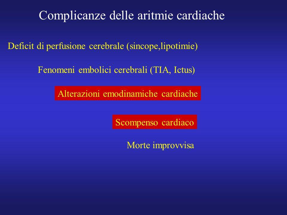 Complicanze delle aritmie cardiache Deficit di perfusione cerebrale (sincope,lipotimie) Fenomeni embolici cerebrali (TIA, Ictus) Alterazioni emodinami