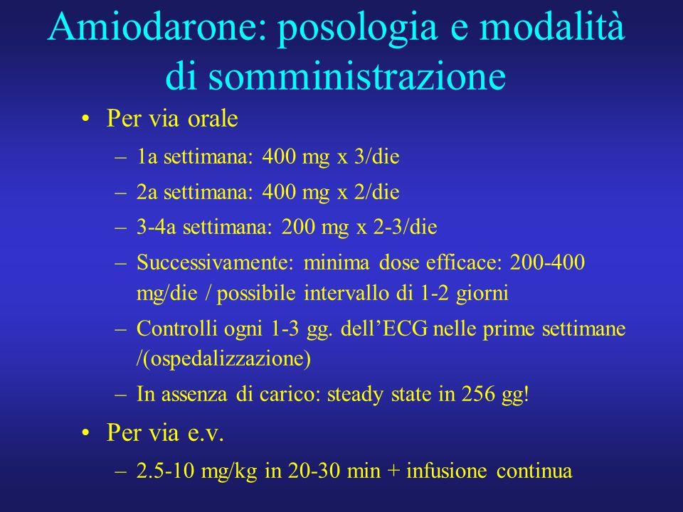 Amiodarone: posologia e modalità di somministrazione Per via orale –1a settimana: 400 mg x 3/die –2a settimana: 400 mg x 2/die –3-4a settimana: 200 mg