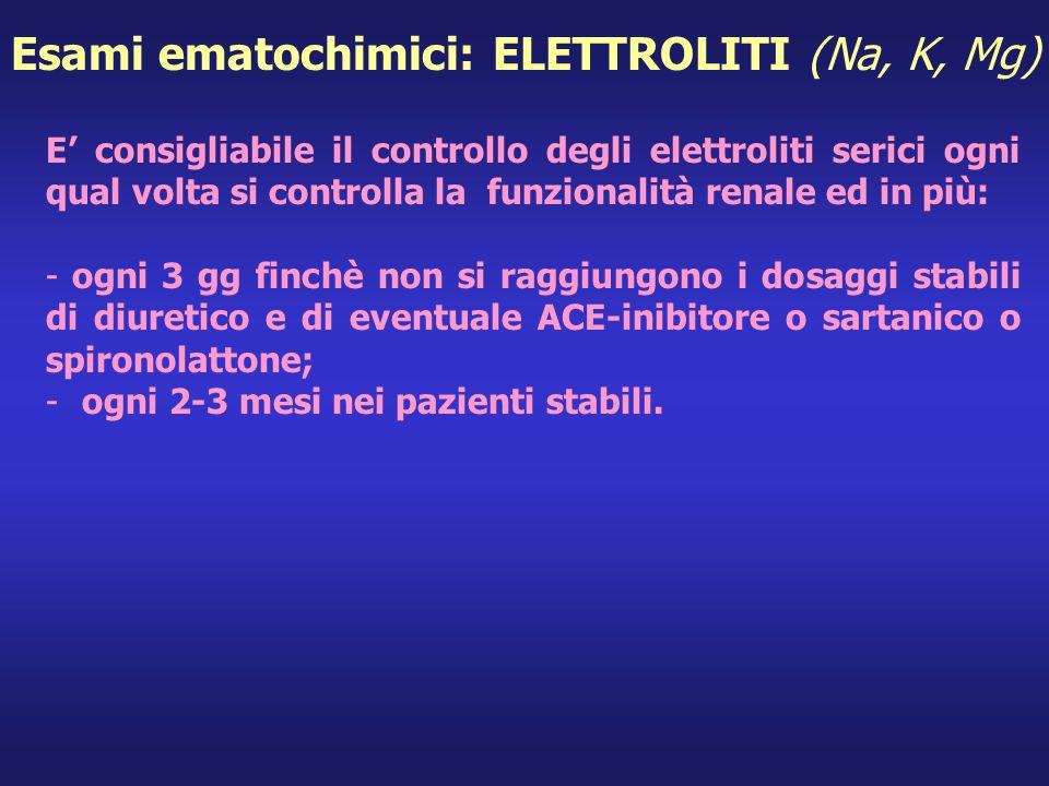 E consigliabile il controllo degli elettroliti serici ogni qual volta si controlla la funzionalità renale ed in più: -ogni 3 gg finchè non si raggiung