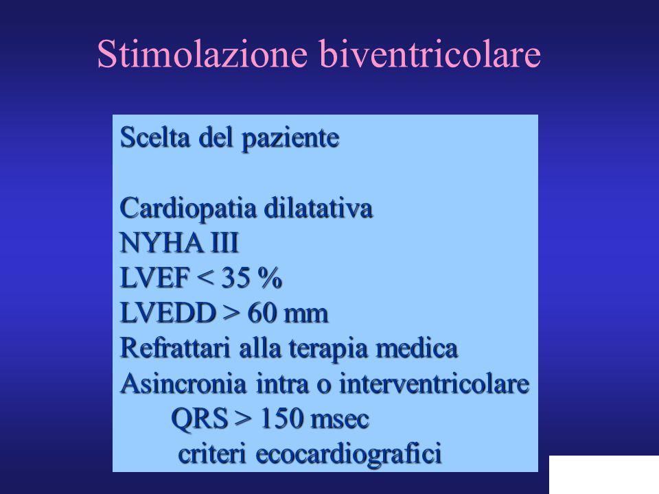 Stimolazione biventricolare Scelta del paziente Cardiopatia dilatativa NYHA III LVEF < 35 % LVEDD > 60 mm Refrattari alla terapia medica Asincronia in