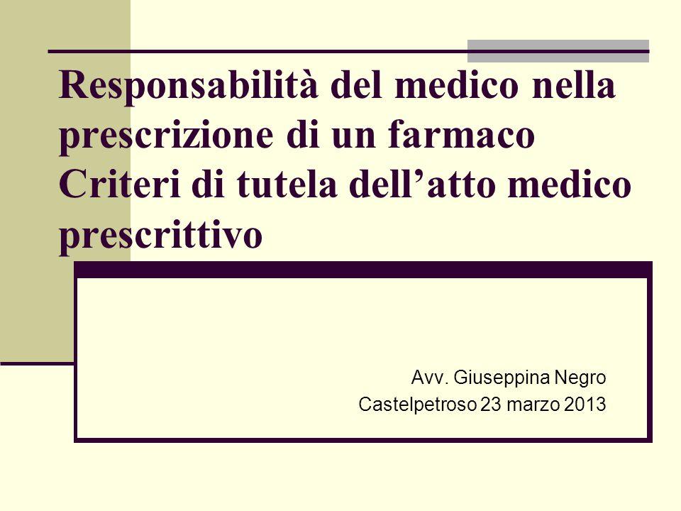 Responsabilità del medico nella prescrizione di un farmaco Criteri di tutela dellatto medico prescrittivo Avv. Giuseppina Negro Castelpetroso 23 marzo