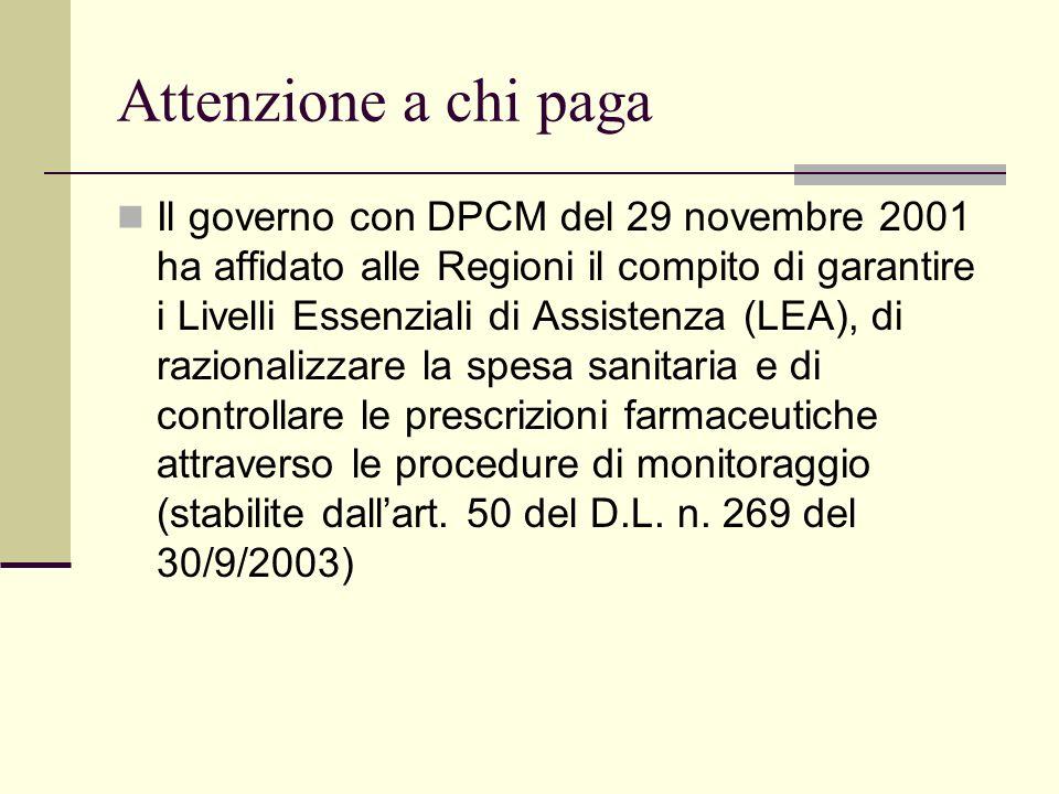 Attenzione a chi paga Il governo con DPCM del 29 novembre 2001 ha affidato alle Regioni il compito di garantire i Livelli Essenziali di Assistenza (LE