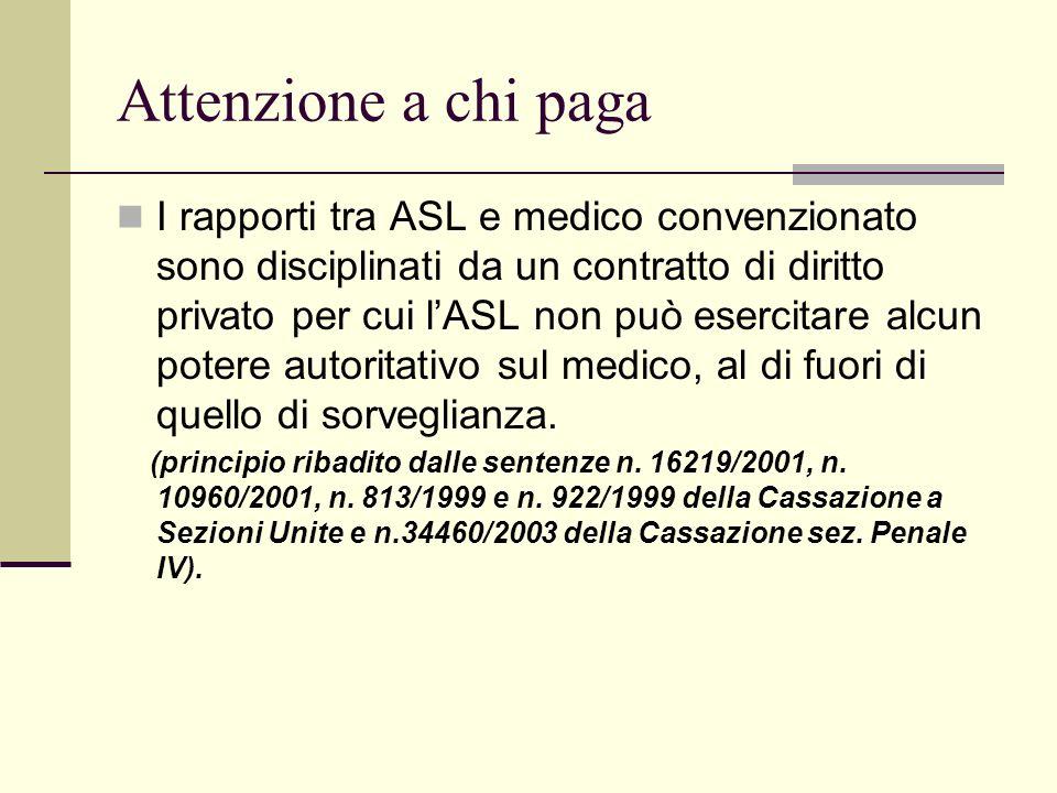 Attenzione a chi paga I rapporti tra ASL e medico convenzionato sono disciplinati da un contratto di diritto privato per cui lASL non può esercitare a
