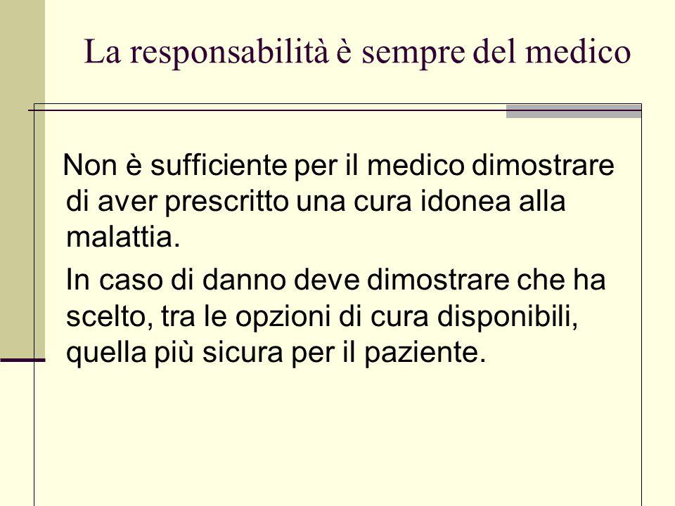 .La responsabilità è sempre del medico Non è sufficiente per il medico dimostrare di aver prescritto una cura idonea alla malattia. In caso di danno d