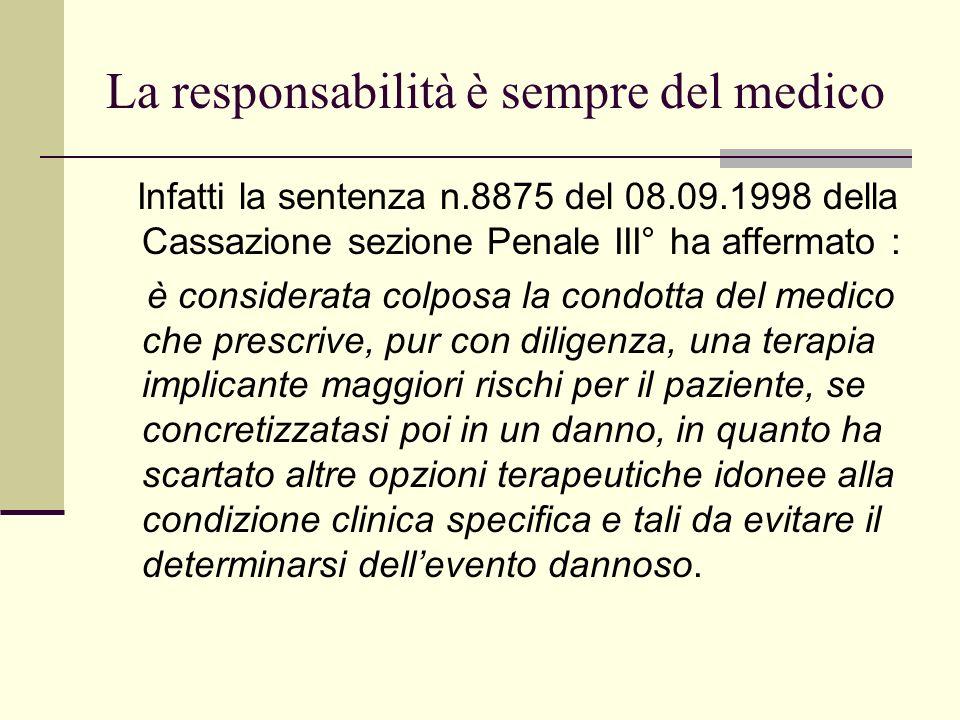 La responsabilità è sempre del medico Infatti la sentenza n.8875 del 08.09.1998 della Cassazione sezione Penale III° ha affermato : è considerata colp