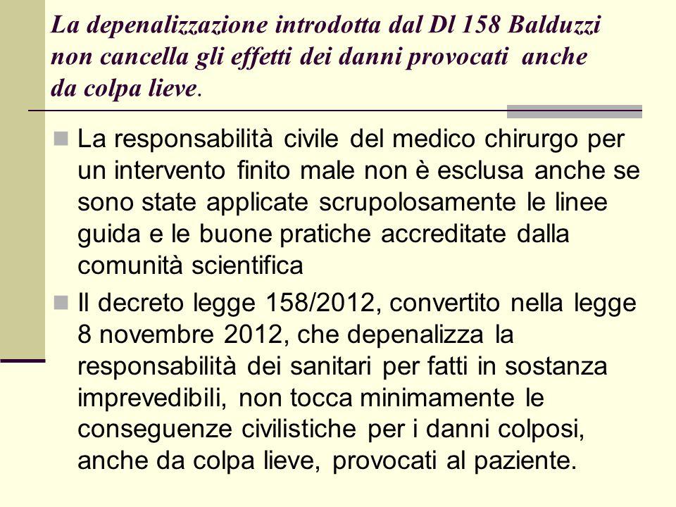 La depenalizzazione introdotta dal Dl 158 Balduzzi non cancella gli effetti dei danni provocati anche da colpa lieve. La responsabilità civile del med