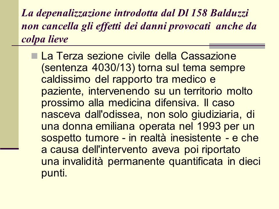 La depenalizzazione introdotta dal Dl 158 Balduzzi non cancella gli effetti dei danni provocati anche da colpa lieve La Terza sezione civile della Cas