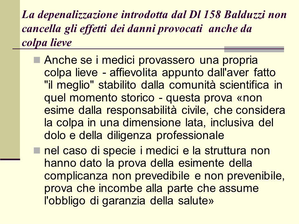 La depenalizzazione introdotta dal Dl 158 Balduzzi non cancella gli effetti dei danni provocati anche da colpa lieve Anche se i medici provassero una