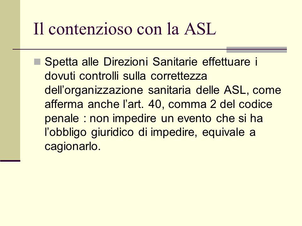 Il contenzioso con la ASL Spetta alle Direzioni Sanitarie effettuare i dovuti controlli sulla correttezza dellorganizzazione sanitaria delle ASL, come