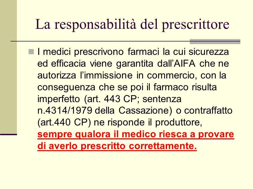 La responsabilità del prescrittore I medici prescrivono farmaci la cui sicurezza ed efficacia viene garantita dallAIFA che ne autorizza limmissione in
