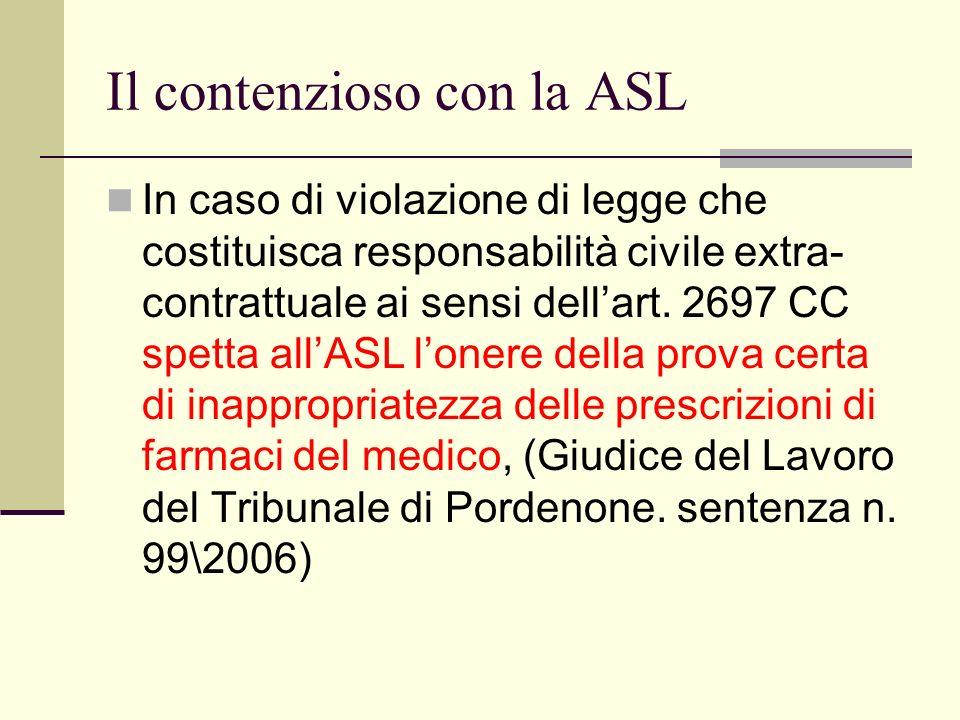 Il contenzioso con la ASL In caso di violazione di legge che costituisca responsabilità civile extra- contrattuale ai sensi dellart. 2697 CC spetta al