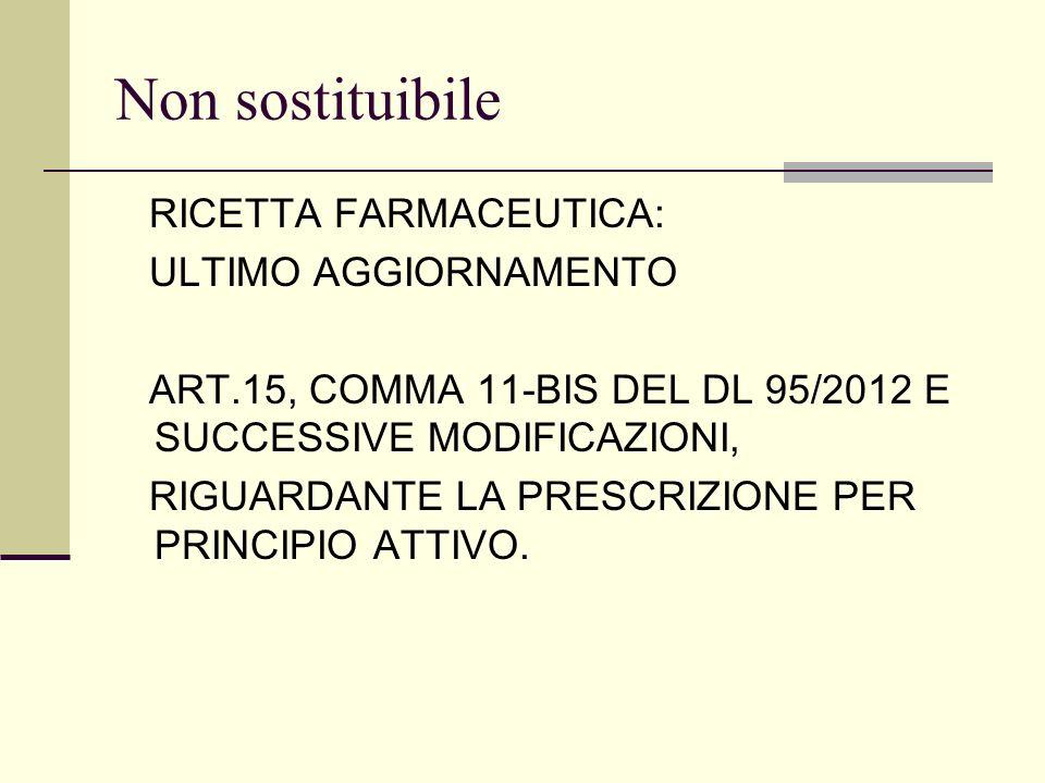 Non sostituibile RICETTA FARMACEUTICA: ULTIMO AGGIORNAMENTO ART.15, COMMA 11-BIS DEL DL 95/2012 E SUCCESSIVE MODIFICAZIONI, RIGUARDANTE LA PRESCRIZION