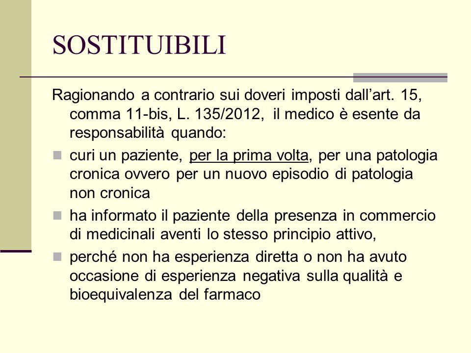 SOSTITUIBILI Ragionando a contrario sui doveri imposti dallart. 15, comma 11-bis, L. 135/2012, il medico è esente da responsabilità quando: curi un pa