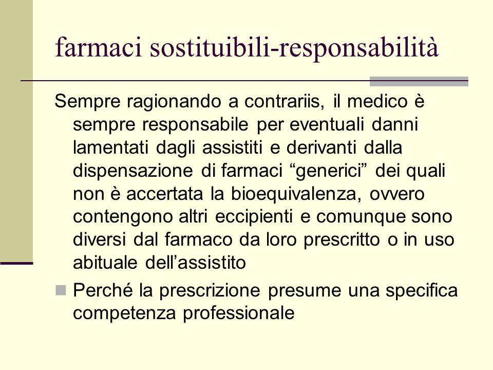 farmaci sostituibili-responsabilità Sempre ragionando a contrariis, il medico è sempre responsabile per eventuali danni lamentati dagli assistiti e de