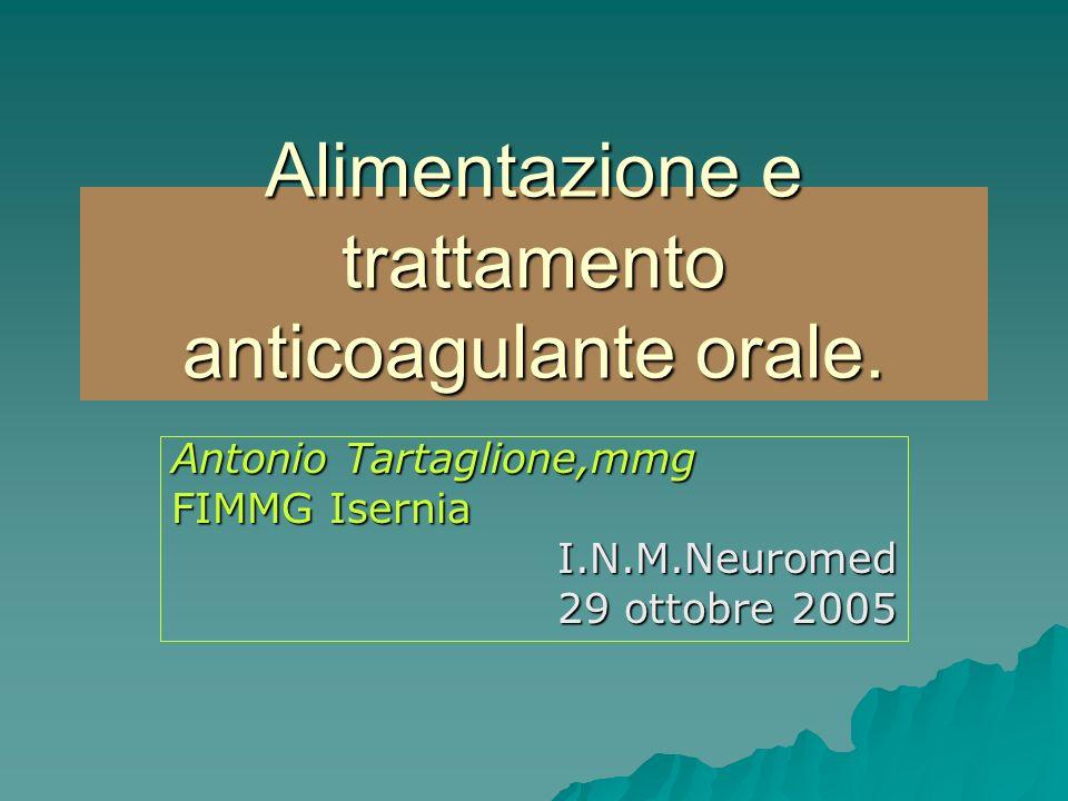 Alimentazione e trattamento anticoagulante orale. Antonio Tartaglione,mmg FIMMG Isernia I.N.M.Neuromed 29 ottobre 2005