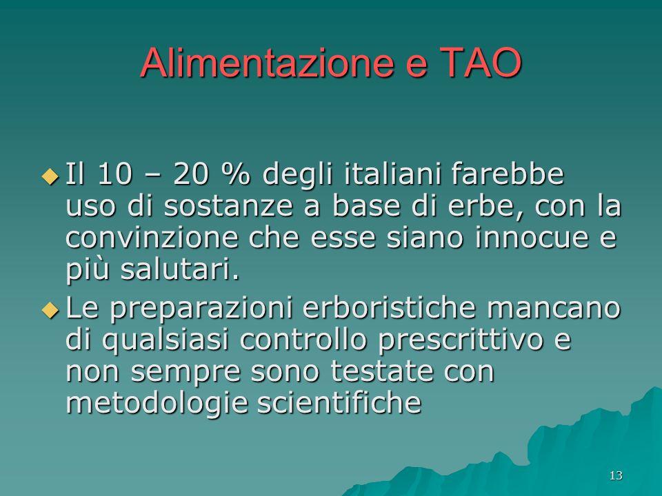 13 Alimentazione e TAO Il 10 – 20 % degli italiani farebbe uso di sostanze a base di erbe, con la convinzione che esse siano innocue e più salutari. I