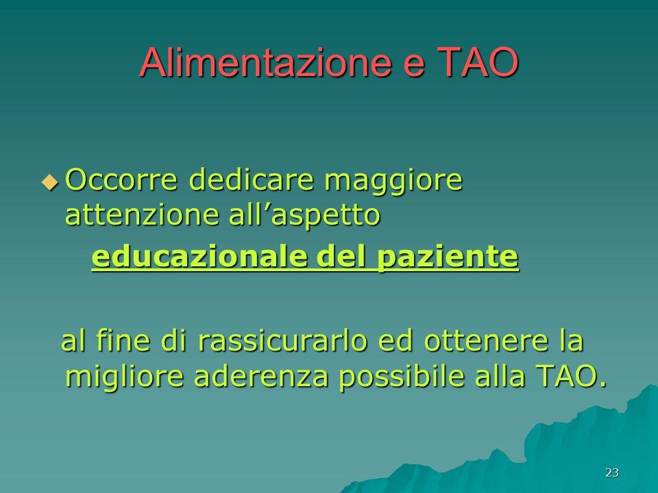 23 Alimentazione e TAO Occorre dedicare maggiore attenzione allaspetto Occorre dedicare maggiore attenzione allaspetto educazionale del paziente educa