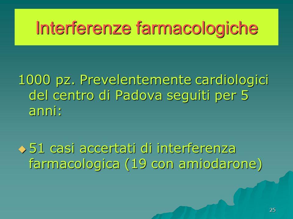 25 Interferenze farmacologiche 1000 pz. Prevelentemente cardiologici del centro di Padova seguiti per 5 anni: 51 casi accertati di interferenza farmac