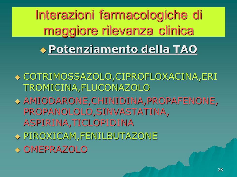 28 Interazioni farmacologiche di maggiore rilevanza clinica Potenziamento della TAO Potenziamento della TAO COTRIMOSSAZOLO,CIPROFLOXACINA,ERI TROMICIN