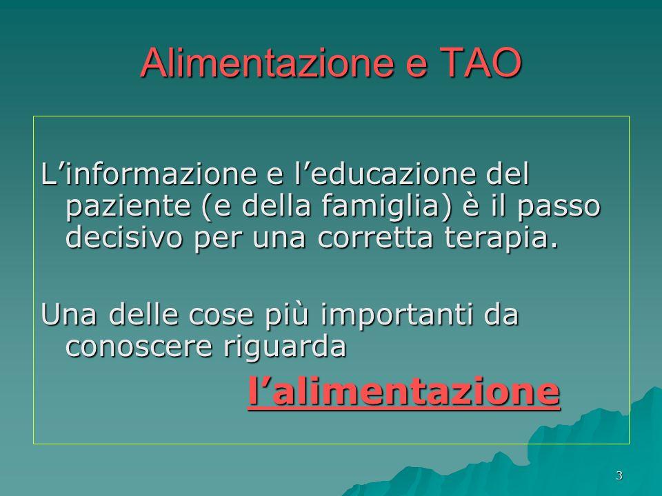 14 Alimentazione e TAO Alcune erbe interagiscono con il sistema dei citocromi o il sistema di trasporto intra ed extra cellulare di molti farmaci.