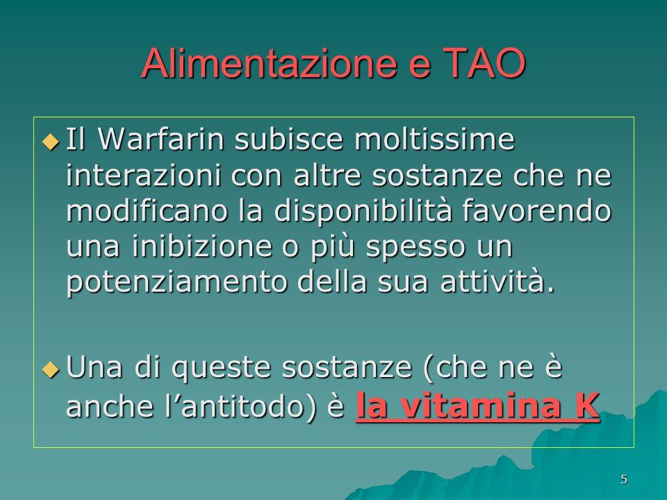 5 Alimentazione e TAO Il Warfarin subisce moltissime interazioni con altre sostanze che ne modificano la disponibilità favorendo una inibizione o più