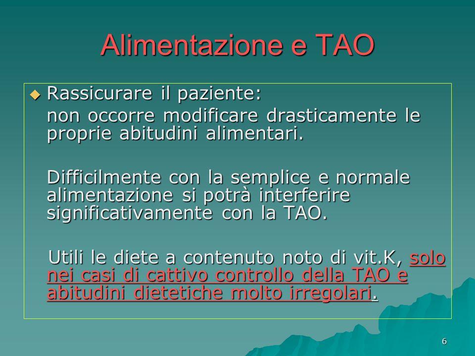 7 Alimentazione e TAO Qualche problema si può avere in concomitanza di malattie che compromettano lassorbimento della vit.