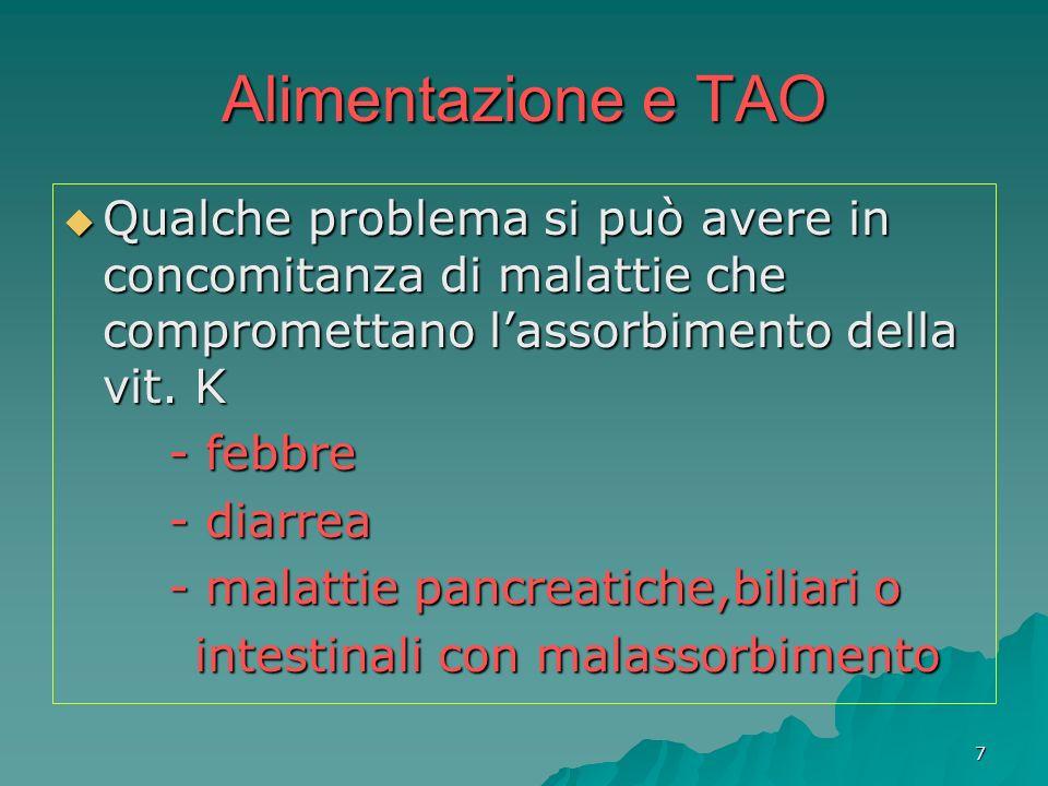 8 Alimentazione e TAO La vitamina K non va bandita dallalimentazione del paziente in TAO: anzi deve essere assunta (limitando lapporto giornaliero a 200-300 microgrammi) La vitamina K non va bandita dallalimentazione del paziente in TAO: anzi deve essere assunta (limitando lapporto giornaliero a 200-300 microgrammi) Importante comunque è: non variare eccessivamente la propria alimentazione Importante comunque è: non variare eccessivamente la propria alimentazione