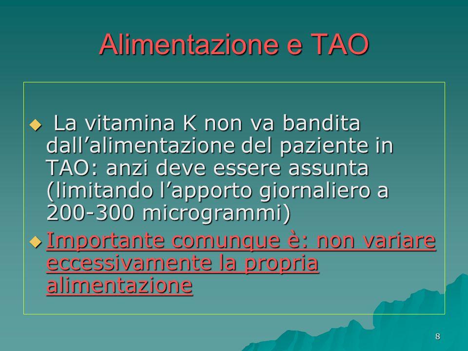 8 Alimentazione e TAO La vitamina K non va bandita dallalimentazione del paziente in TAO: anzi deve essere assunta (limitando lapporto giornaliero a 2