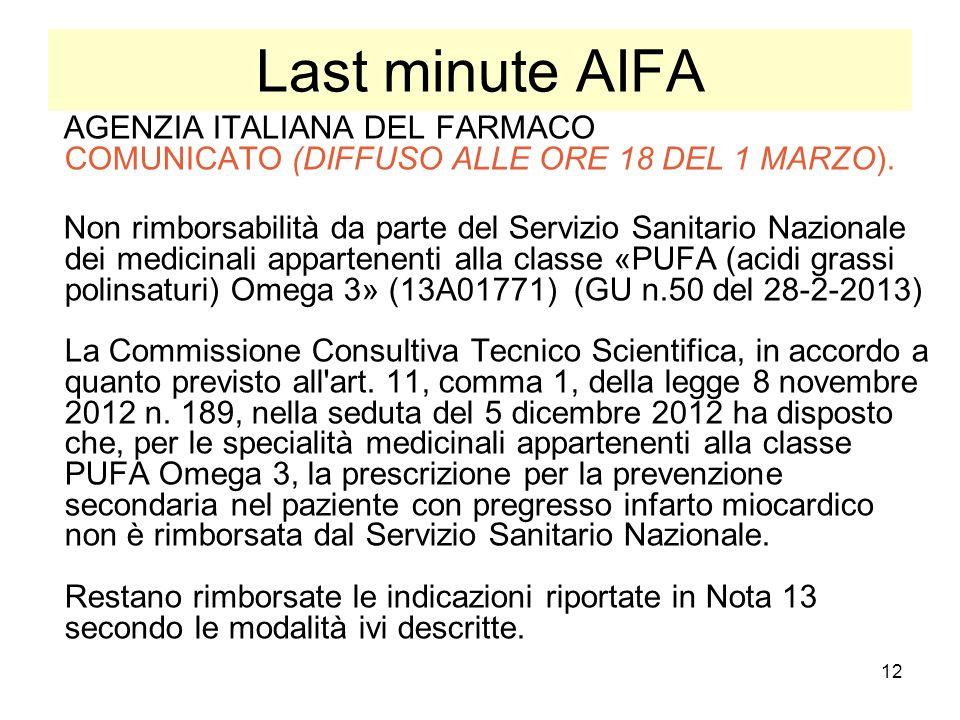12 Last minute AIFA AGENZIA ITALIANA DEL FARMACO COMUNICATO (DIFFUSO ALLE ORE 18 DEL 1 MARZO). Non rimborsabilità da parte del Servizio Sanitario Nazi