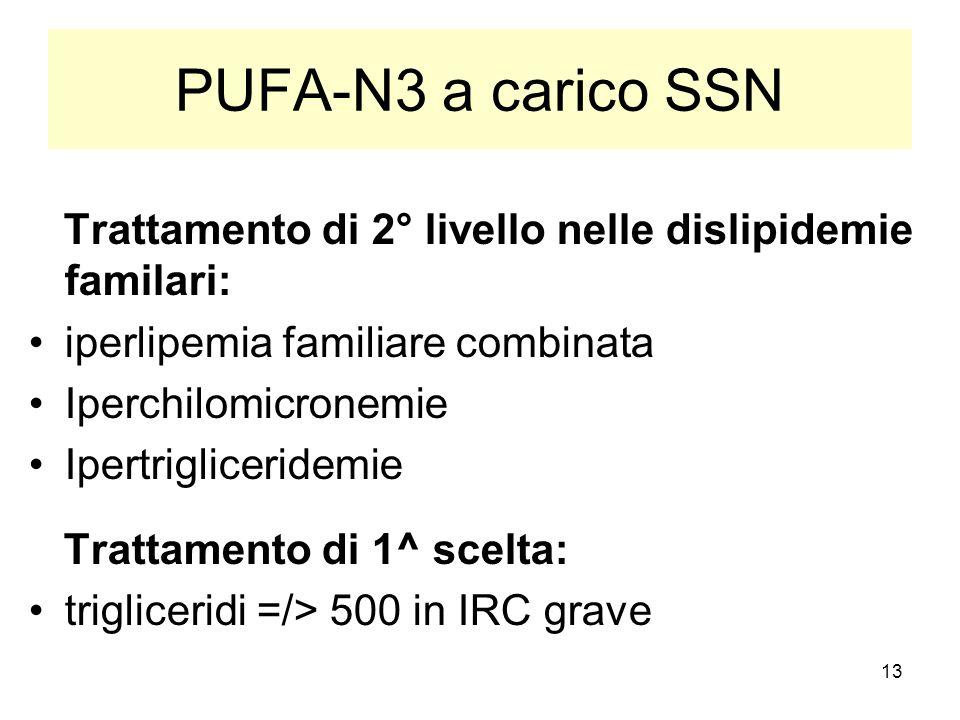 13 PUFA-N3 a carico SSN Trattamento di 2° livello nelle dislipidemie familari: iperlipemia familiare combinata Iperchilomicronemie Ipertrigliceridemie