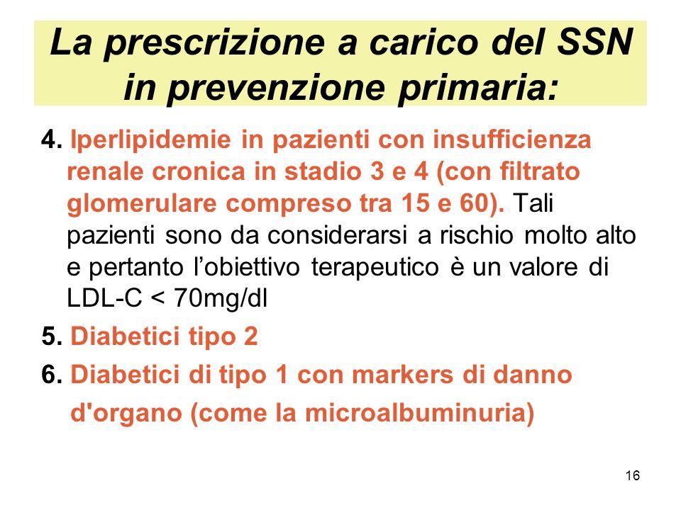 16 La prescrizione a carico del SSN in prevenzione primaria: 4. Iperlipidemie in pazienti con insufficienza renale cronica in stadio 3 e 4 (con filtra