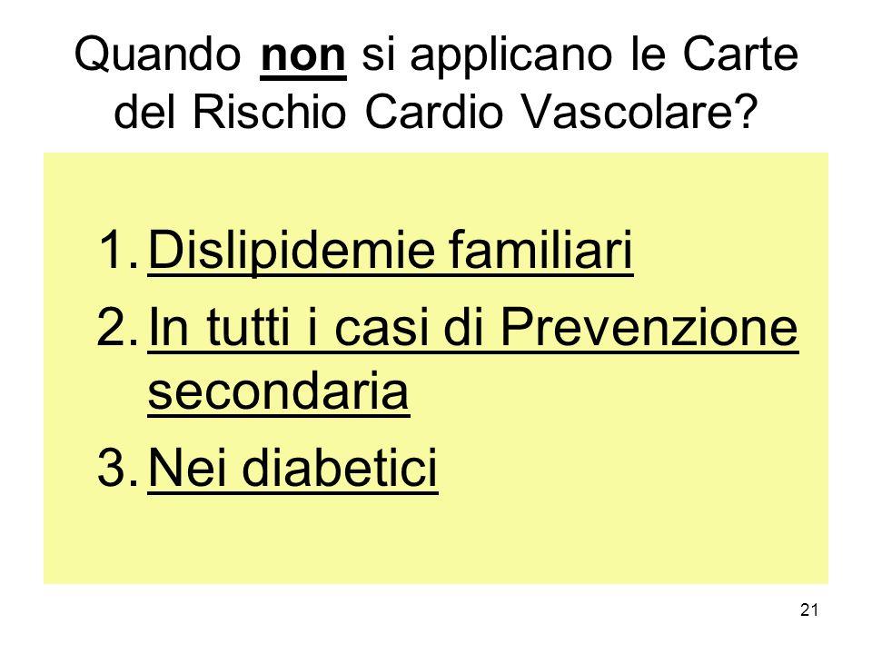 21 Quando non si applicano le Carte del Rischio Cardio Vascolare? 1.Dislipidemie familiari 2.In tutti i casi di Prevenzione secondaria 3.Nei diabetici