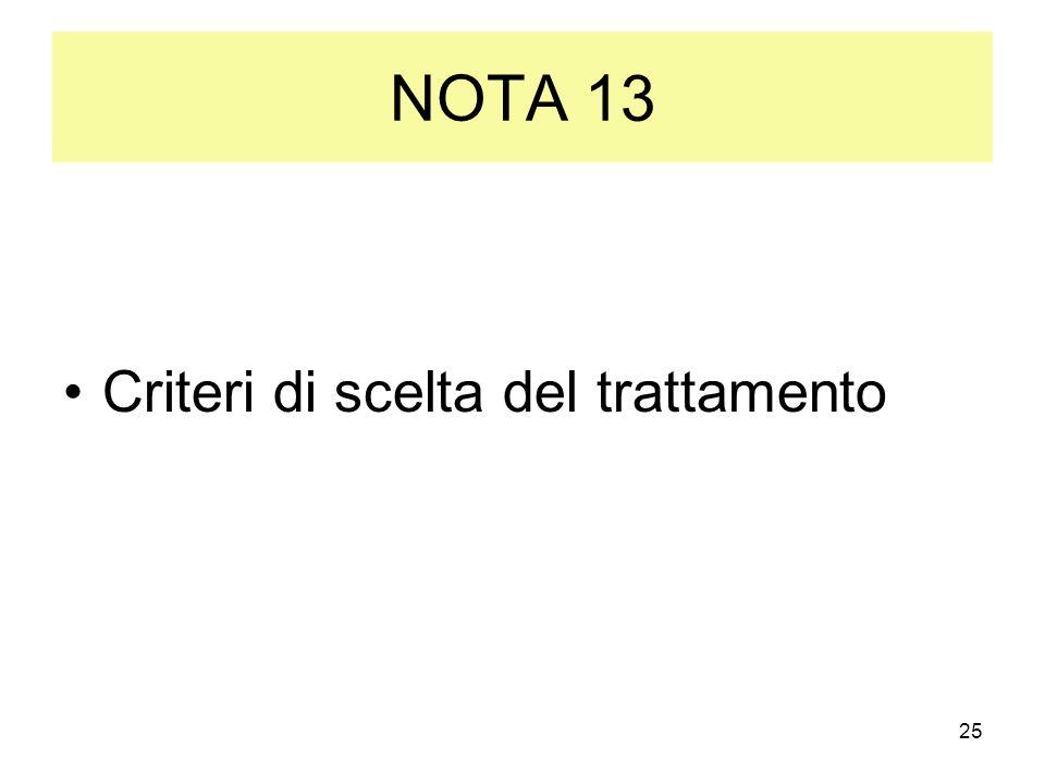 25 NOTA 13 Criteri di scelta del trattamento