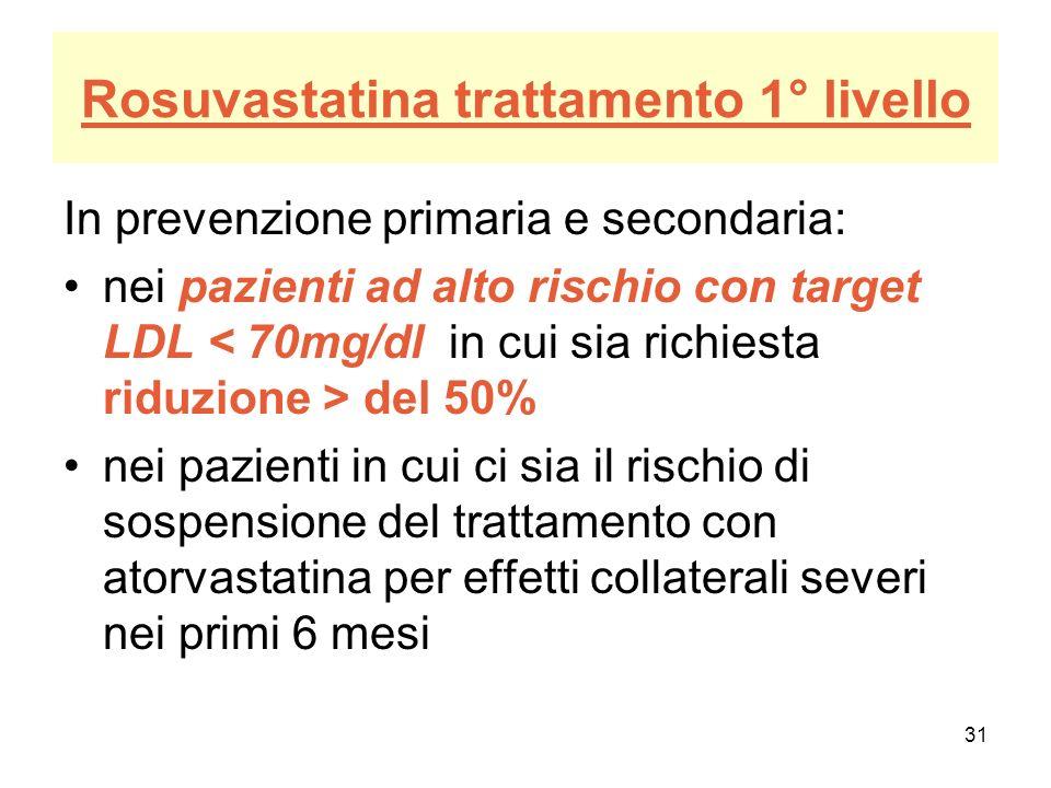 31 Rosuvastatina trattamento 1° livello In prevenzione primaria e secondaria: nei pazienti ad alto rischio con target LDL del 50% nei pazienti in cui