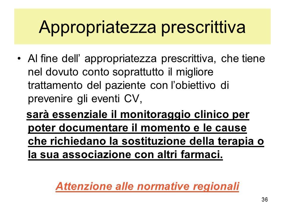 36 Appropriatezza prescrittiva Al fine dell appropriatezza prescrittiva, che tiene nel dovuto conto soprattutto il migliore trattamento del paziente c