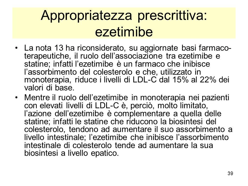 39 Appropriatezza prescrittiva: ezetimibe La nota 13 ha riconsiderato, su aggiornate basi farmaco- terapeutiche, il ruolo dellassociazione tra ezetimi