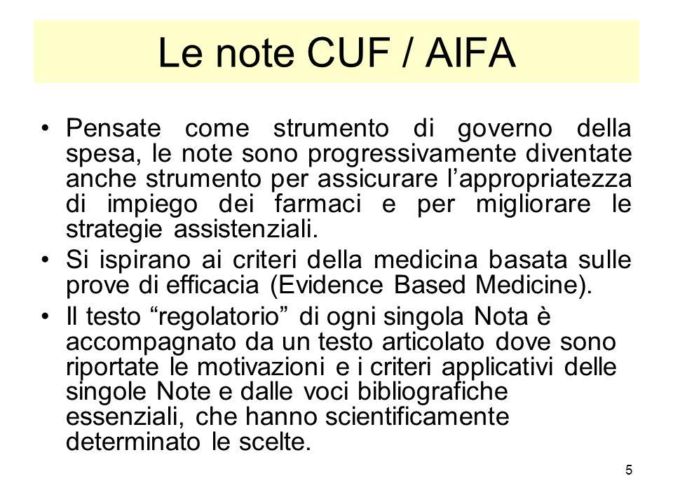 5 Le note CUF / AIFA Pensate come strumento di governo della spesa, le note sono progressivamente diventate anche strumento per assicurare lappropriat