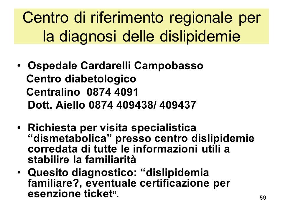 59 Centro di riferimento regionale per la diagnosi delle dislipidemie Ospedale Cardarelli Campobasso Centro diabetologico Centralino 0874 4091 Dott. A